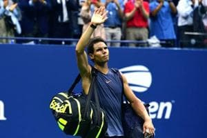 NEW YORK, NY - SEPTEMBER 07: Rafael Nadal of Spain walks off the court after he is forced to retire due to injury in his men