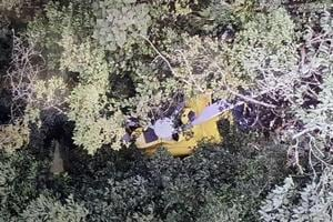 An aerial view of the chopper that crashed with seven people on board in Nepal on September 8.