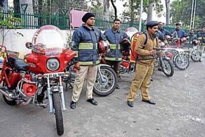 The decision to buy the eight motorcycles (pic above), each costing ₹6.5 lakh, was taken after they were purchased by the Chandigarh fire department to fight flames in congested areas. (HT Photo)