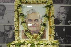 Kolkata, India - August 23, 2018: Urns containing ashes of former Prime Minister Atal Bihari Vajpayee kept at Bharatiya Janata Party (BJP) Head Office, Central Avenue in Kolkata, West Bengal, India on August 23, 2018. (Photo by Samir Jana / Hindustan Times)