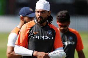 Murali Vijay in action during a net session at the Lord's
