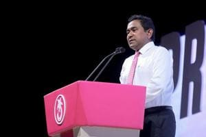 Maldives President Abdulla Yameen addressing a campaign rally in the Maldives capital Male, ahead of presidential elections on September 7, 2018.