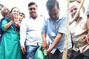 Chief minister Arvind Kejriwal after planting a sapling during the launch of a mass plantation drive at Yamuna flood plains.