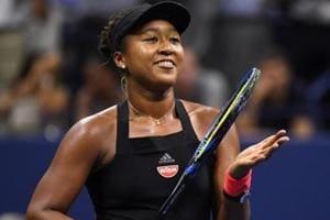 Naomi Osaka of Japan celebrates match point against Madison Keys of the United States in USOpen.