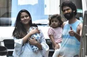 Mira Rajput with her son Zain, Shahid Kapoor and daughter  Misha after getting discharged from Mumbai's Hinduja hospital onFriday.