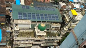 An aerial view of the solar panels that were installed atop Hakim Dayam Masjid  on August 10.
