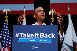 Former US President Barack Obama participates in a political rally for California Democratic candidates during a event in Anaheim, California, US, September 8, 2018.