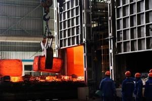Chinese employees at a steel plant in Zouping in China
