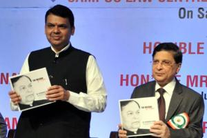 (From left) Maharashtra Chief Minister Devendra Fadnavis and Chief Justice of India Dipak Misra at the inauguration of Dr Patangrao Kadam Memorial Public Lecture Series in Pune on Saturday.