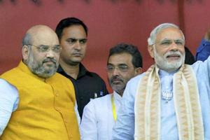 Prime Minister Narendra Modi (right) with BJP president Amit Shah.