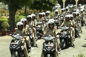 Women police petrol unit at Jaipur.