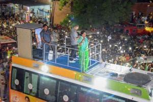 Rajasthan chief minister Vasundhara Raje during her 'Rajasthan Gaurav Yatra