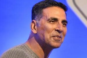 Bollywood actor Akshay Kumar speaks during the launch of road safety awareness videos, in New Delhi.