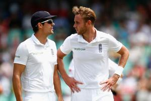 File image of Alastair Cook (L) and Stuart Broad.