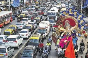 Even the Lord had to find his way through traffic at Mahim in Mumbai on Saturday.
