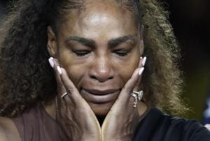 Serena Williams reacts during the trophy ceremony after losing to Naomi Osaka, of Japan, in the women
