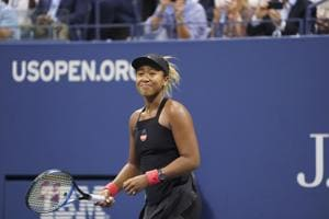 Naomi Osaka of Japan reacts after defeating Serena Williams in their US Open final, at Arthur Ashe Stadium in New York. Osaka won her first US Open, 6-2, 6-4