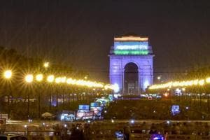 A view of illuminated India Gate in New Delhi.