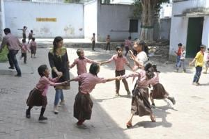 Students of a primary school in Nishatganj playing games.