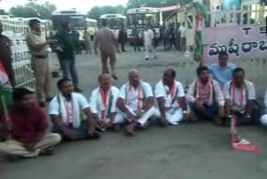 Activists of the Congress and the Left parties launched a sit-in at the depots of state road transport corporations to prevent buses from plying on the roads.