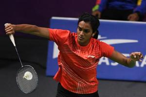 India's V. Sindhu Pusarla hits a return against Taiwan's Tai Tzuying in their women