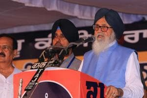 Former Punjab chief minister Parkash Singh Badal addressing a rally at Abohar in Fazilka district on Sunday.
