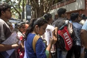 Students preparing for CET Exams outside Lords Universal College, Goregaon in Mumbai.