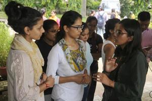 Newly elected student council president Kanupriya interacting with girl students outside the Girls Hotel No 1 at Panjab University on Sunday.