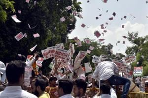 A shot from last year's Delhi University Students Union Election held at the North Campus.