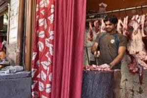Shops open at Jama Masjid meat market, in Old Gurgaon, India.