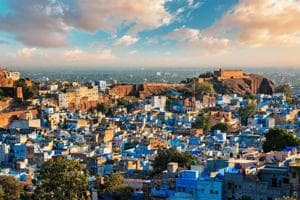 Aerial view of Jodhpur, also known as Blue City due to the vivid blue-painted Brahmin houses around Mehrangarh Fort. Jodphur, Rajasthan, India