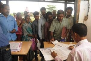 """A NRC Seva Kendra (NSK) in Rongpur 1 near Silchar in Assam.The state unit also appeared non-committal on the pending Citizenship (amendment) Bill, and said the """"issue is being examined""""."""