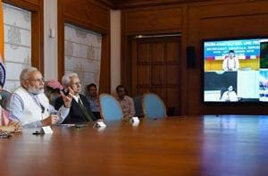 Prime Minister Narendra Modi and Prime Minister of Bangladesh Sheikh Hasina (on the screen) jointly dedicate three projects in Bangladesh via video conference, in New Delhi, Monday, September 10, 2018. External Affairs Minister Sushma Swaraj is also seen.