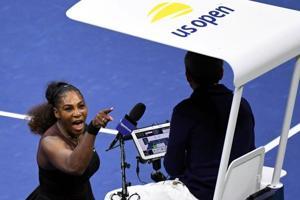Serena Williams yells at chair umpire Carlos Ramos in the women
