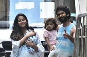 Shahid Kapoor and Mira Rajput with son Zain and daughter Misha.