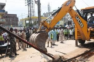 An anti-encroachment drive is underway in Kankarbagh,  Patna City and Bankipore circles of Patna.