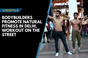 Bodybuilders promote natural fitness in Delhi, work out on the street