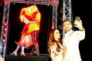 Esha Deol and husband Bharat Takhtani unveil a Kasautii Zindagii Kay 2 statue in Mumbai. (Instagram)