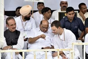 Congress president Rahul Gandhi with NCP chief Sharad Pawar, senior congress leader Ghulam Nabi Azad and other party leaders during