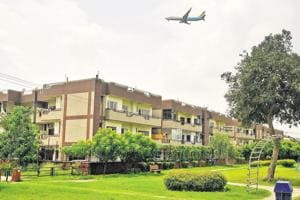 A view of green belt and societies in Sector 48 Chandigarh.