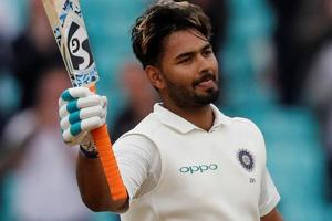Rishabh Pant celebrates his century during play on the final day of the fifth Test cricket match between England and India.