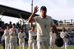 Alastair Cook leaves the pitch at the end of play on the fourth day of the Oval Test.