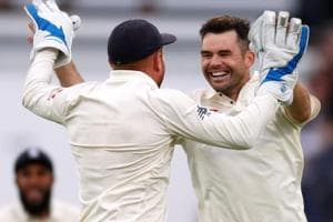 James Anderson celebrates the wicket of India
