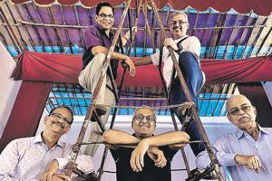 (L to R) Dilip Veghne, Satish Sathe, Sanjay Patwardhan, Shekhar Shirwalkar and Suryakant Vaste who are committee members of Indravandan CHS, SHivaji Park in Mumbai.