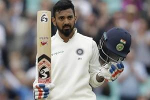 KL Rahul celebrates his century during the fifth cricket test match of a five match series between England and India at the Oval.