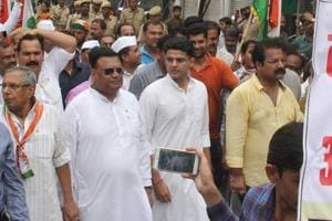 State Congress president Sachin Pilot along with party leaders during a march in Jaipur on Monday, September 10, 2018.