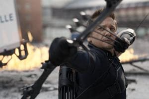American actor Jeremy Renner as Hawkeye/Clint Barton in 2016's Captain America: Civil War