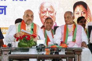 Bharatiya Janata Party president Amit Shah with party