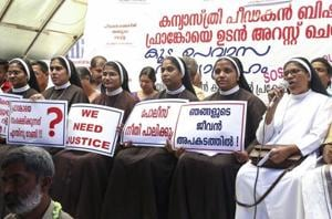 Nuns protest against the delay in action against Roman Catholic Church Bishop alleged accused of sexually exploiting a nun in Kochi, on September 8, 2018.