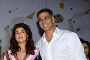 Writer-producer Twinkle Khanna with her actor husband Akshay Kumar at the launch of her book Pyjamas Are Forgiving in Mumbai on September 7.